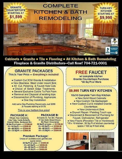 Kitchen Cabinets Granite Package Deal Charlotte Nc Areas