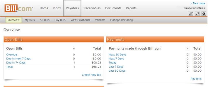 Bill.com Screenshot