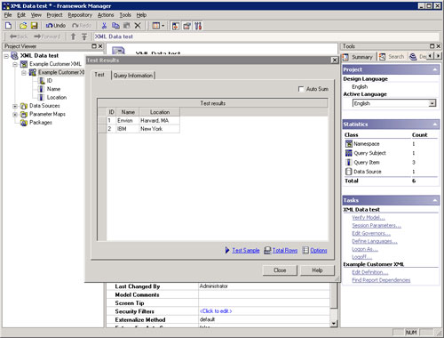 framework manager screenshot
