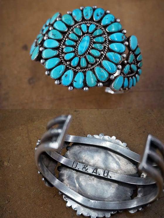 Turquoise Cluster Bracelet by Zuni artist Alice Quam