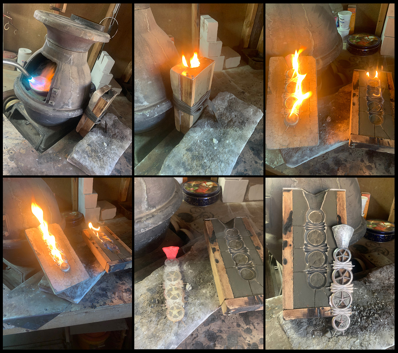 pouring silver into a cement cast form