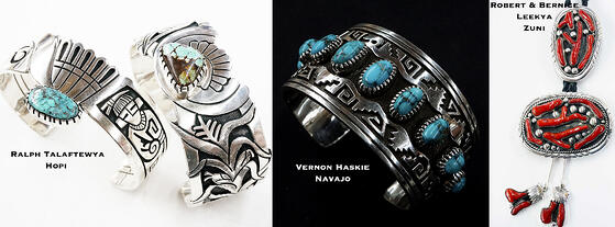 Examples of crossover Navajo, Hopi and Zuni jewelry