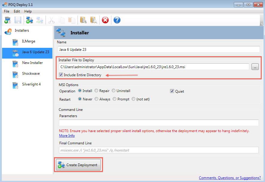 Install Java 1.6.0_23 silently