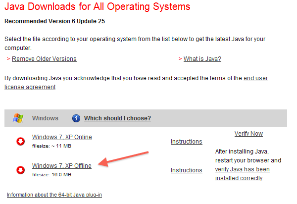 Download the offline Java installer for silent installations