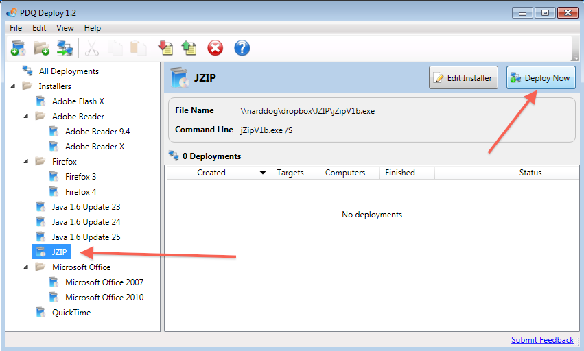Install JZIP silently