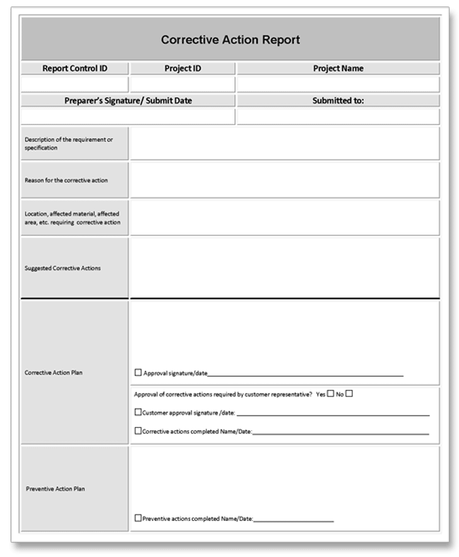Corrective action report example for Preventive action plan template