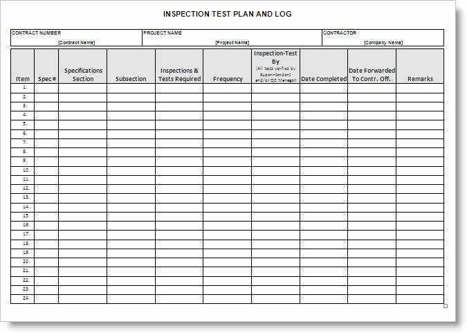 Inspection test plan form example for Testplan template