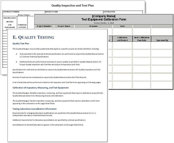 Project Quality Plan Example Quality Management Plan Template