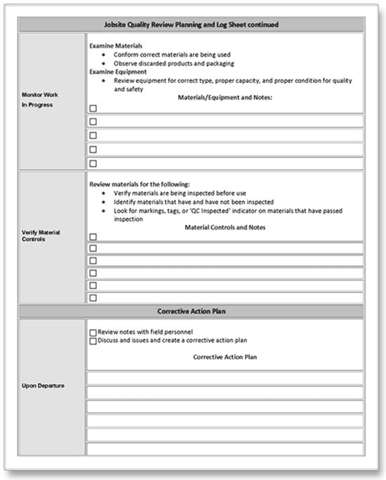 Construction job site quality control audit form pg 2