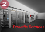 turnstile entrance, entry point with turnstiles, entrance turnstiles