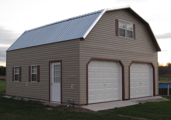 Amish Built Attic Car Garage With Loft Space: 2 Story Garages & 2 Story Buildings Give You Twice The Space