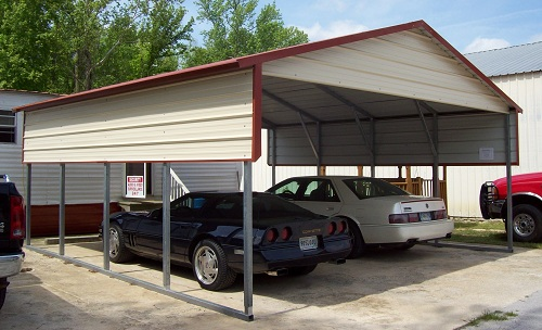 2 Car Metal Carport Flat : Car metal carport