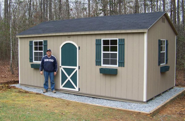 Gravel foundation recommended for the storage sheds for Garden shed floor ideas