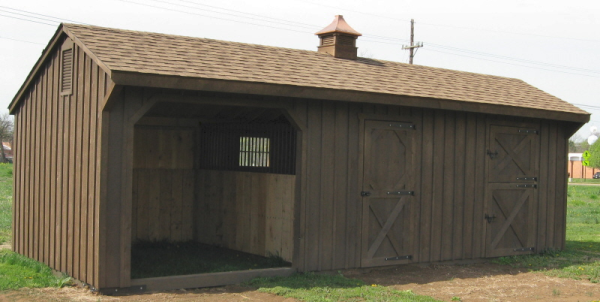 Horse barns 12x28 shed row horse barn with stall run in for 2 stall horse barn kits