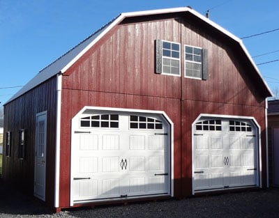 Prefabricated wood two story 2 car prefab garages for Two story garage kits