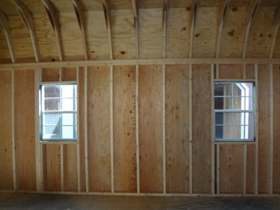wood pre made shed interior construction