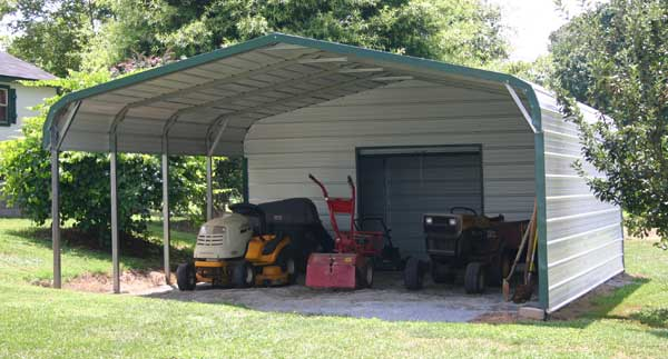 double wide carport with enclosed shed