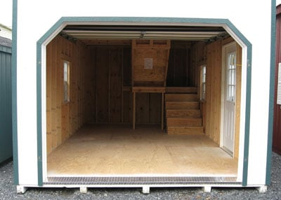 12x20 two story shed inside