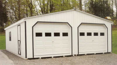 wood siding 2 car garages with glass in garage door