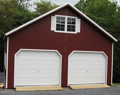 2 story sheds amish built two story storage buildings for Two car garage shed