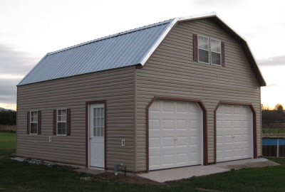Alan S Factory Outlet 2 Story Garages Are Built By The Amish And Delivered Fully Embled With Roof Hinged For Transport Two Car Garage Is