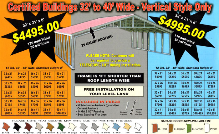 Alan 39 s factory outlet has metal buildings prices are low Cost of building a house in pa