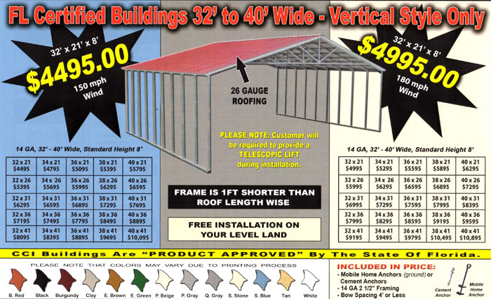 40 wide steel building prices florida fl