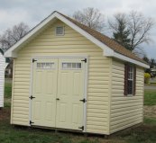 vinyl shed with overhang