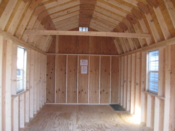 Wood dutch barn inside view of shed for 10x10 access door