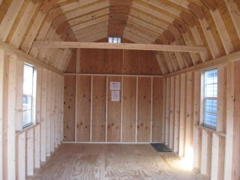 Wood dutch barn inside view of shed for Shed plans for sale