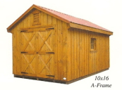 board batten a-frame shed