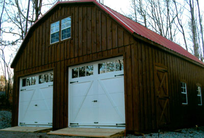 board & batten 2 story garage 24x24