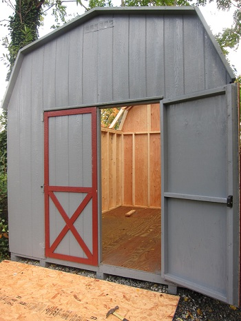 front wall installed wood shed kits