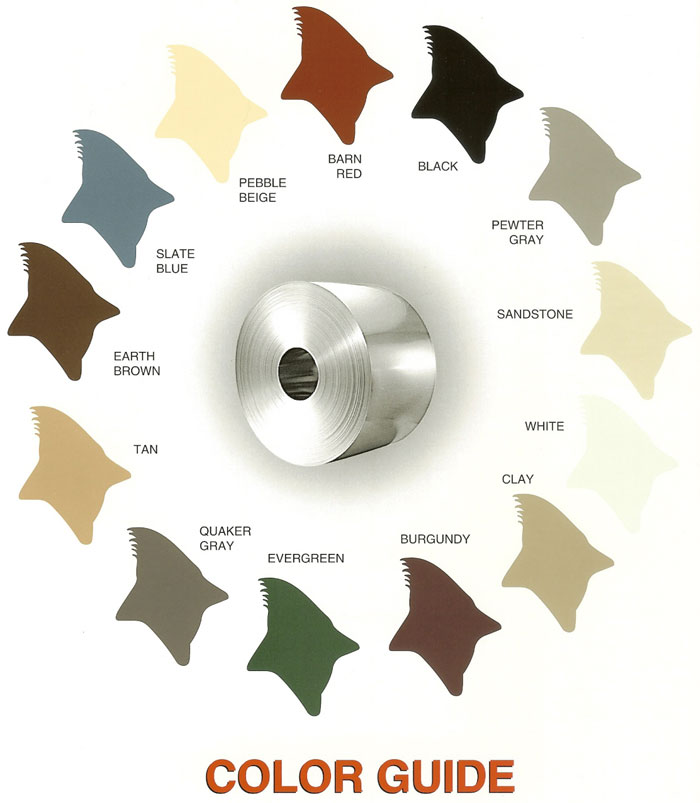 metal garage color chart