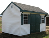 white vinyl quaker storage shed