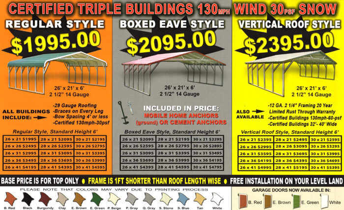 triple wide metal carport prices