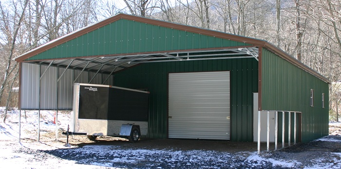 triple wide metal carport with garage