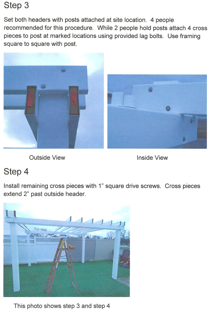 vinyl pergola do it yourself instructions page 3