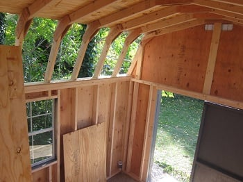 wood shed kit roof installation