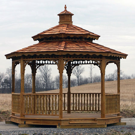 wooden gazebo kit double roof