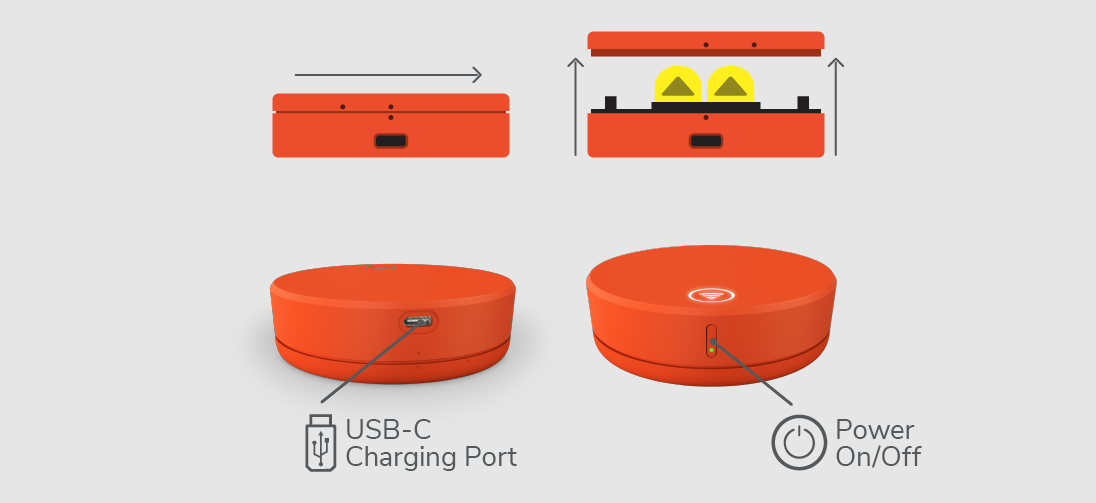 Locating the battery cover, USB-C Port and Power Buttons.