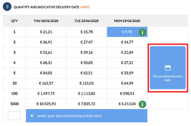 Can I choose a personalized delivery date? 01