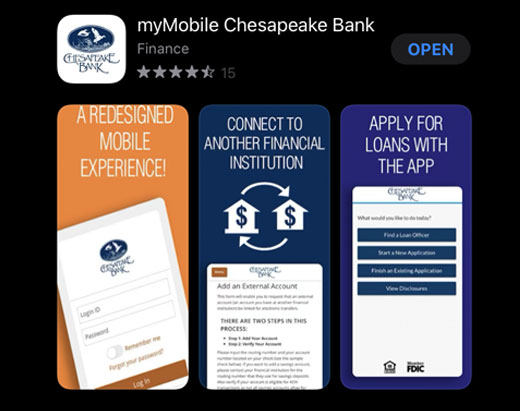 Download our ChesBank app