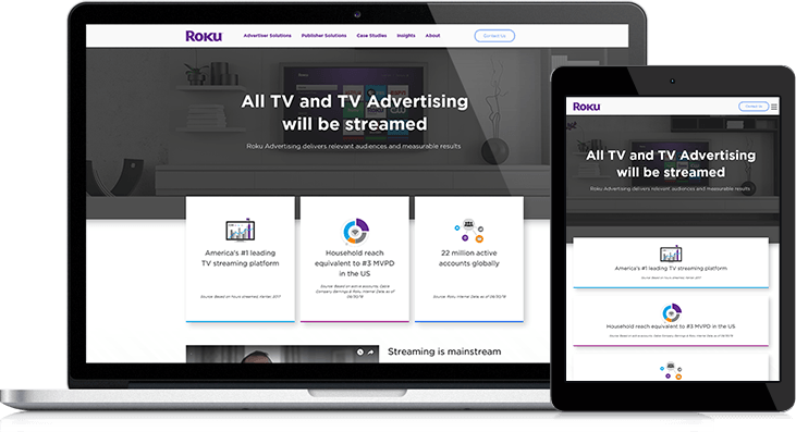 Great Website Design Helps Roku Clients Understand Their Advertising Service Offerings