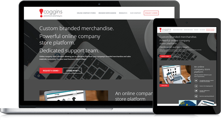 Coggins Promotional Advertising Website Redesign