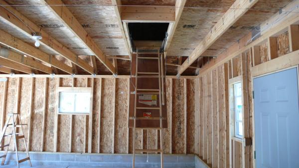 Garage room in attic truss staircase v s ladder for Garage attic storage