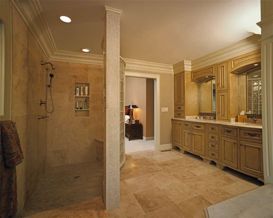 Custom vanity and walk in shower Walk in shower designs