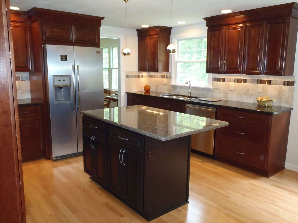 A new kitchen island with a quartz surface will provide space for storage,  food prep