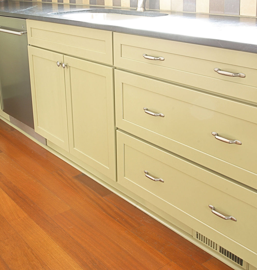 Bishop cabinets danbury wood cabinets with a light green paint