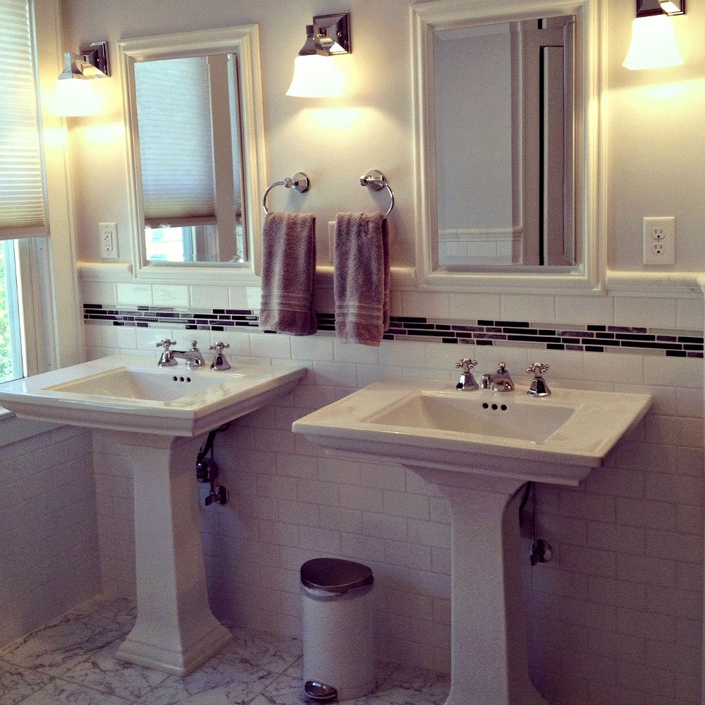 2 Pedestal Sinks Bathroom : What makes this bathroom work aesthetically is the tile design. It is ...